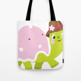 Beautiful kids and baby Drawing Turtle Tote Bag