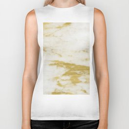 Marble - Shimmery Gold Marble and White Biker Tank