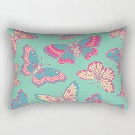 Pink Butterflies on Aqua Rectangular Pillow