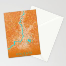 Kolkata, India, Gold, Blue, City, Map Stationery Cards