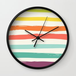 Colorful strokes ,rainbow Wall Clock