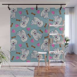Cute Bichon Frise Pattern On Teal Blue Wall Mural