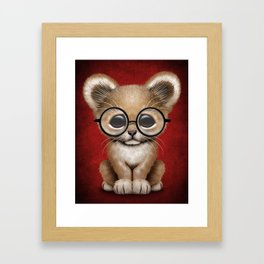 Cute Baby Lion Cub Wearing Glasses on Red Framed Art Print