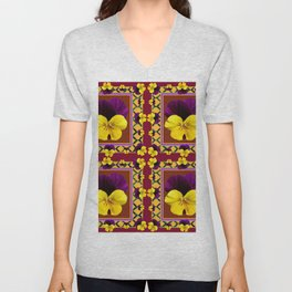 MAROON QUATREFOIL PURPLE & YELLOW SPRING PANSIES Unisex V-Neck