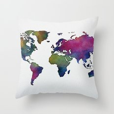 Multicolor World Map 02 Throw Pillow