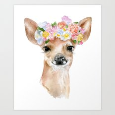 Deer Fawn Floral Watercolor Art Print