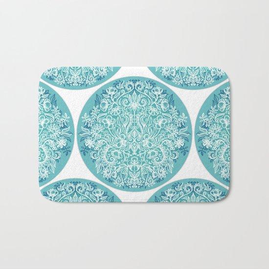 Spring Arrangement - teal & white floral doodle Bath Mat