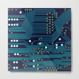 Dark Circuit Board Metal Print