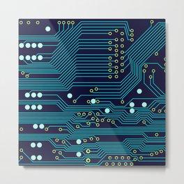 Dark Circuit Board Metal Print