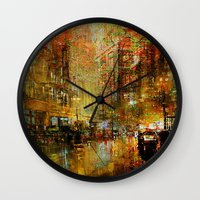 detroit Wall Clocks featuring An evening in Detroit by Joe Ganech