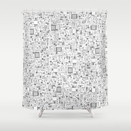 All Tech Line / Highly detailed computer circuit board pattern Shower Curtain