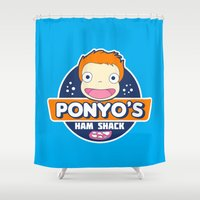 ponyo Shower Curtains featuring Ponyo's Ham Shack by Buby87