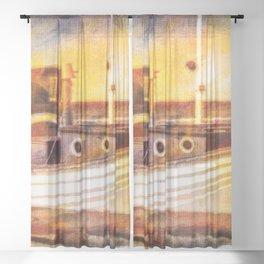 Boat Sunset Beach Painting Sheer Curtain