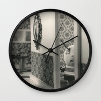 tim burton Wall Clocks featuring Hanging a painting fail - tim burton by PaperTigress
