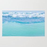 blankets Area & Throw Rugs featuring Kapukaulua Pure Blue Surf by Sharon Mau