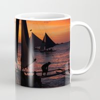 philippines Mugs featuring Borocay Sunset Philippines by brokentoph
