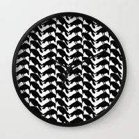 crow Wall Clocks featuring Crow by Emmanuelle Ly