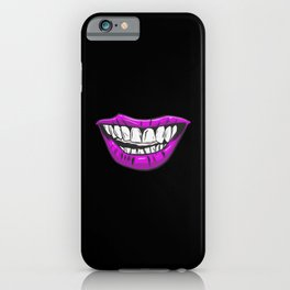 Violet Lips Scary Mouth Fun Design iPhone Case