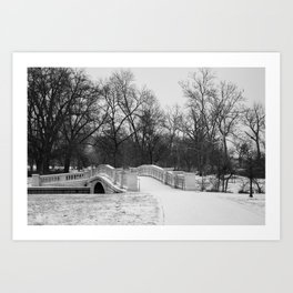 Winter Solitude - St. Louis Snowy Bridge Art Print