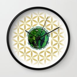 Gnome Fairy Golden Flower of Life Wall Clock