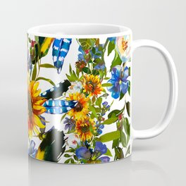 Abstract navy blue yellow watercolor sunflowers pansies pattern Coffee Mug
