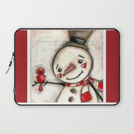 Red  Bird and Snowman - Christmas Holiday Art Laptop Sleeve