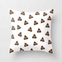 Cute smiling poop emoji Throw Pillow