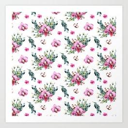 Modern fuchsia green watercolor country floral Art Print