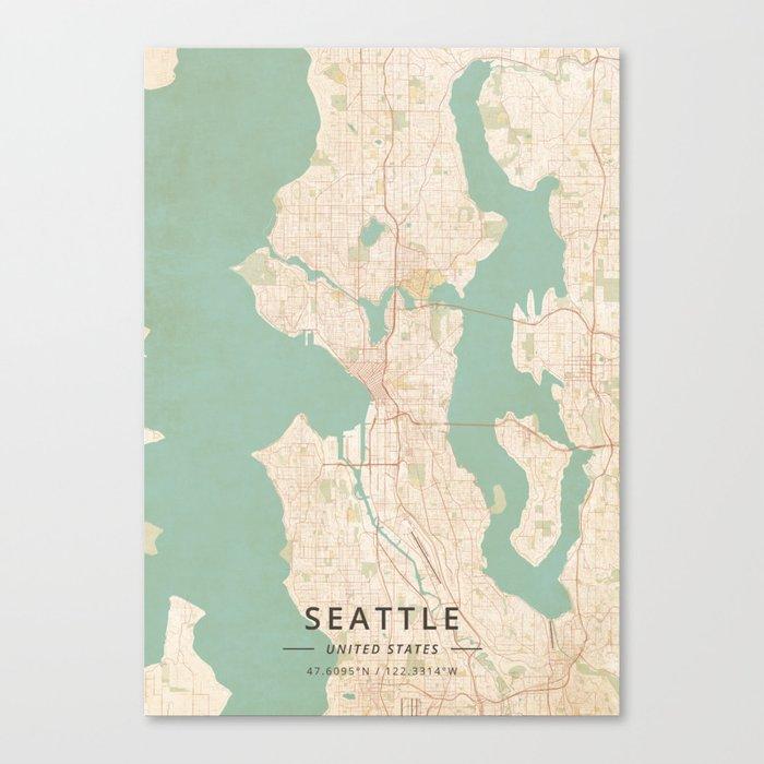 Seattle, United States - Vintage Map Leinwanddruck