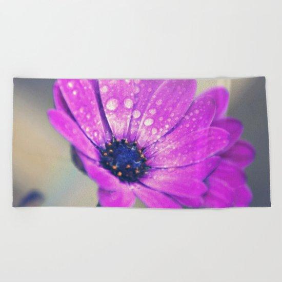 Sunshine flower purple Beach Towel