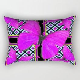 Fuchsia Satin Butterflies Pattern On Black Rectangular Pillow