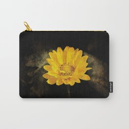 Beautiful Sunflower with Dark Brown Background Carry-All Pouch
