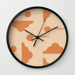 Clouds and lollipops - earth tones version Wall Clock