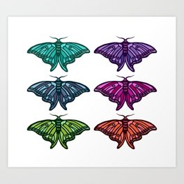 Technicolor Moth Collection Art Print