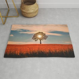 Sunshine Through Lonely Tree In Cornfield Ultra HD Rug