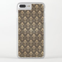 Chic Gold and Black Art Deco Leafy Damask Clear iPhone Case