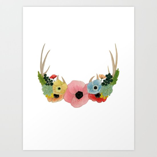 FLOWER ADORNED ANTLERS Art Print