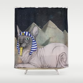 Sphynx Cat (space bg) Shower Curtain
