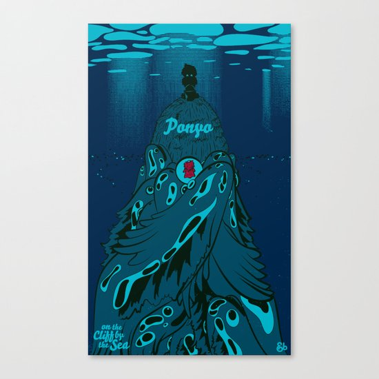Ponyo on the Cliff by the Sea Canvas Print
