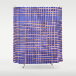 Left - Blue and Orange Shower Curtain