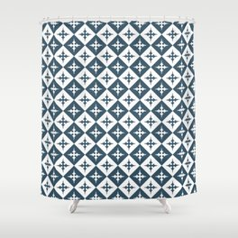 Tile pattern - Blue and White Shower Curtain