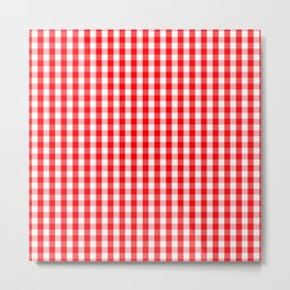Large Christmas Red and White Gingham Check Plaid Metal Print