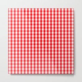 Large Christmas Red and White Gingham Check Plaid Metal Print