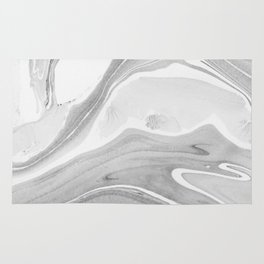Black and White Ink Marbling 06 Rug