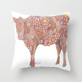Chocolate and Strawberry Milk Cow Throw Pillow