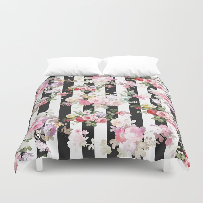 Bold pink watercolor roses floral black white stripes Bettbezug