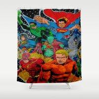superheros Shower Curtains featuring Heroes Unite by JayKay