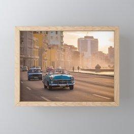 Classic American car during sunset in Havana | Travel photography Cuba Framed Mini Art Print