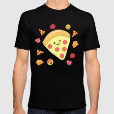 Pizza Feels Mens Fitted Tee Black MEDIUM