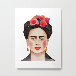 Watercolor Frida Kahlo Metal Print